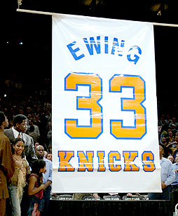 Ewing's Jersey Is Raised To The Raftors