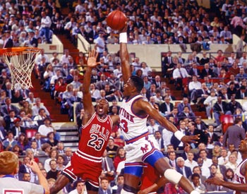Ewing Dunks On MJ